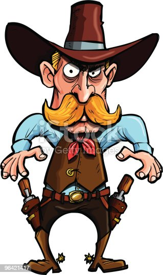 istock Cowboy about to draw his guns 96421417