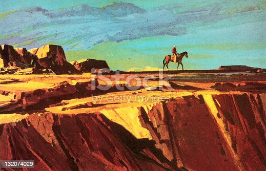 istock Cowboy and Horse on Cliff 132074029
