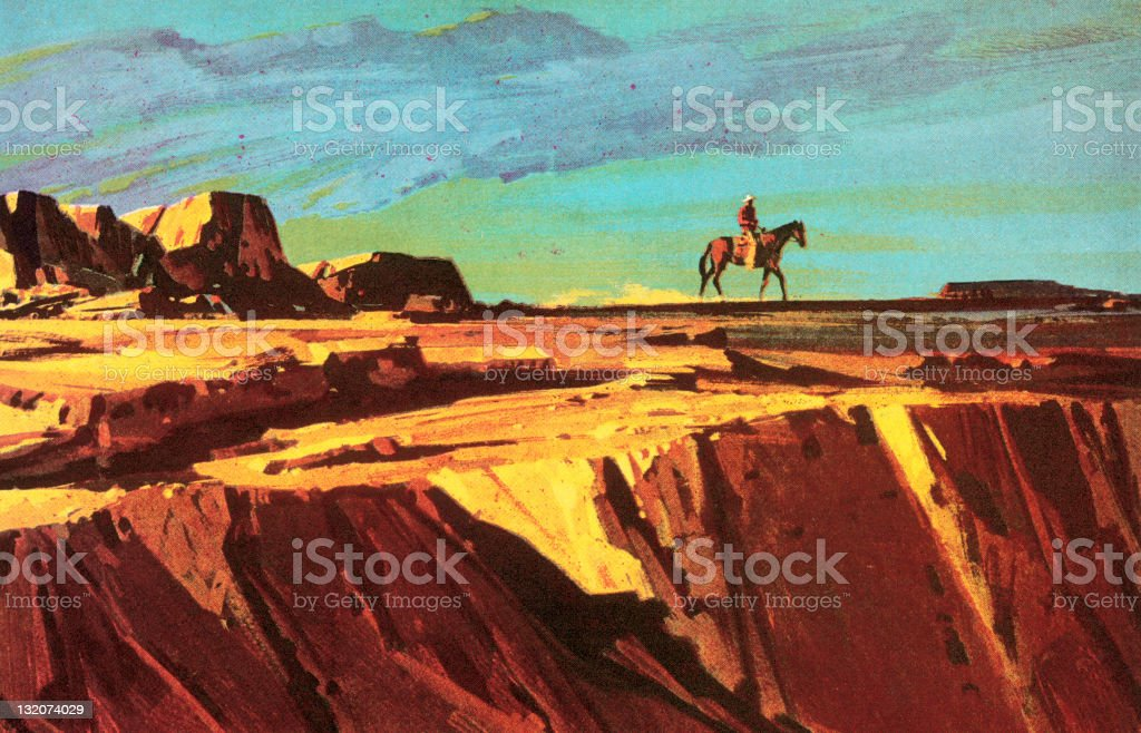 Cowboy and Horse on Cliff vector art illustration