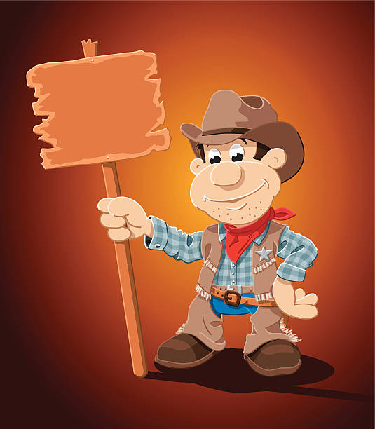 "Cowboy Cartoon Man Blank Sign ""Vector Illustration of a cartoon cowboy, who is holding a blank wooden sign. The background is on a separate layer, so you can use the illustration on your own background. The colors in the .eps-file are ready for print (CMYK). Included files: EPS (v8) and Hi-Res JPG."" cartoon people sign stock illustrations"
