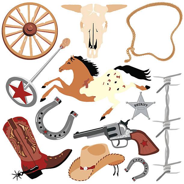 cowboy-elemente - cowboystiefel stock-grafiken, -clipart, -cartoons und -symbole