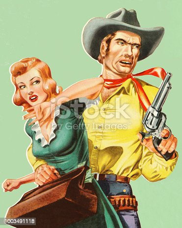 istock Cowboy Grabbing a Woman 1003491118