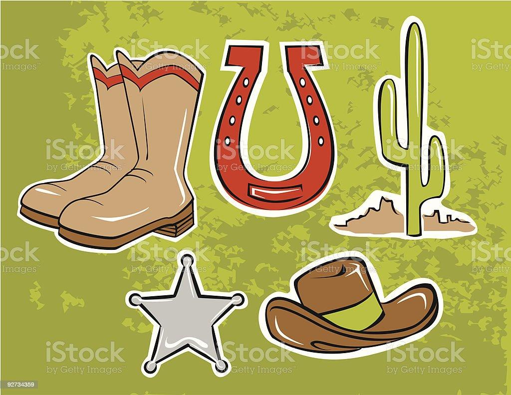 Cowboy, Horseshoe und Wild west-icons Lizenzfreies cowboy horseshoe und wild westicons stock vektor art und mehr bilder von abzeichen
