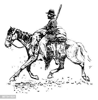 Cowboy - Scanned 1887 Engraving