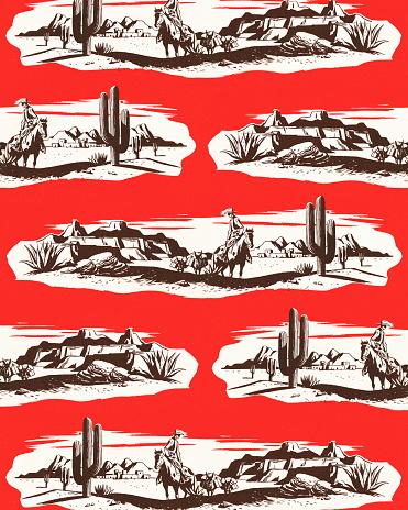 Cowboy in the desert pattern