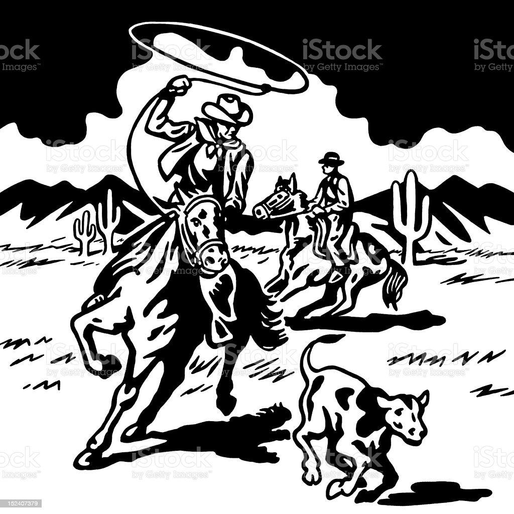Ilustración de Cowboy Atrapar Con Lazo De Ternero y más banco de ...