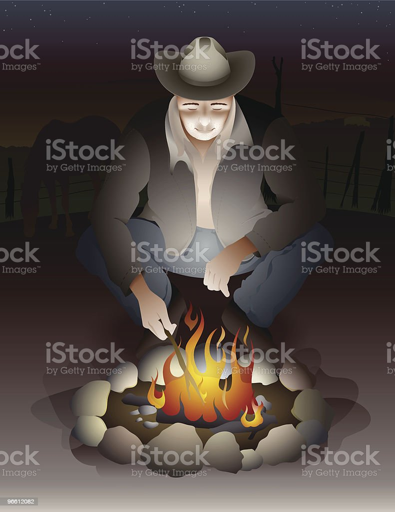 Cowboy Man Sitting Near Campfire with Farm in Background royalty-free cowboy man sitting near campfire with farm in background stock vector art & more images of adult