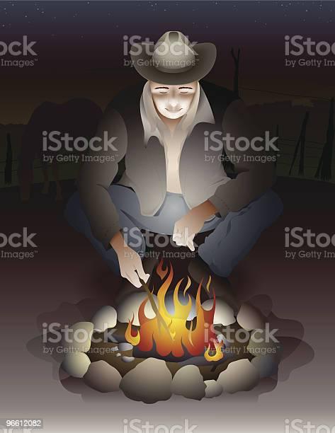 Cowboy Man Sitting Near Campfire With Farm In Background-vektorgrafik och fler bilder på Amerikansk kultur