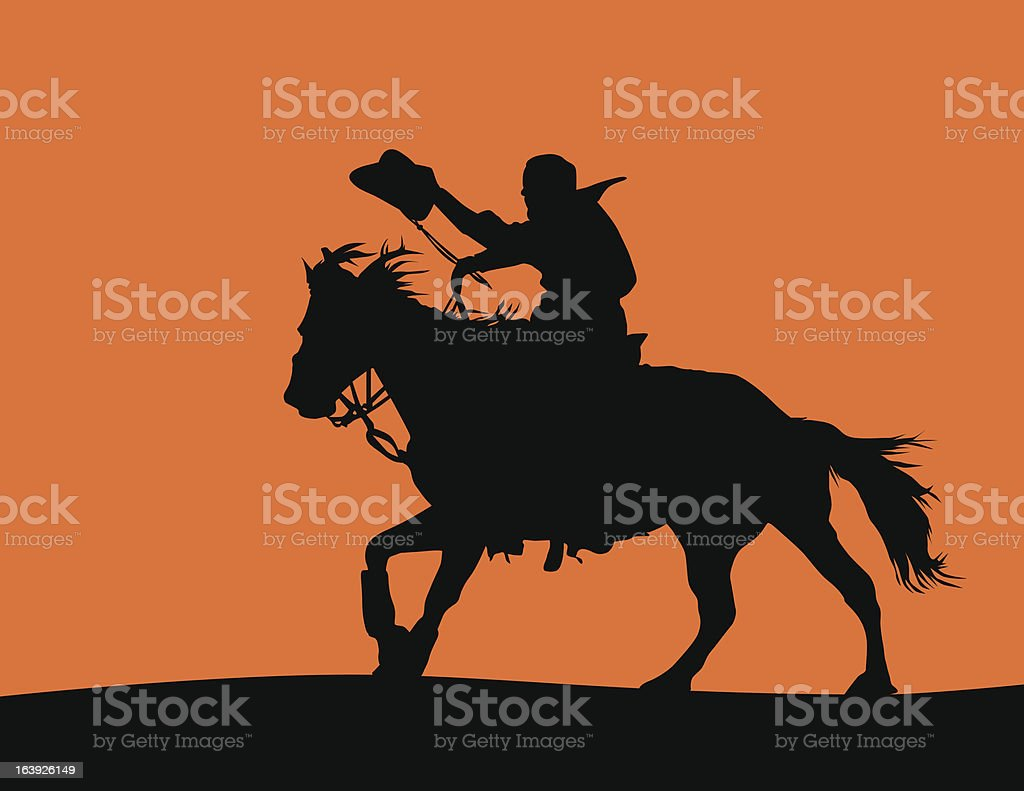 Cowboy On A Horse Silhouette Stock Illustration Download Image Now Istock