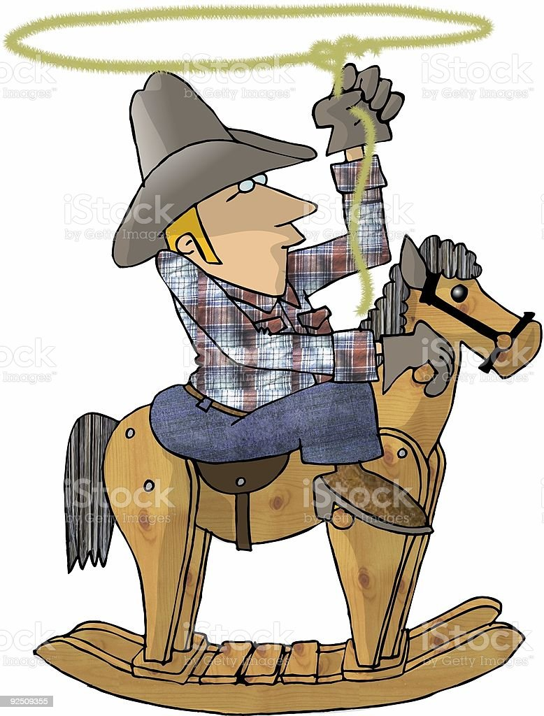 Cowboy on a Rocking Horse royalty-free cowboy on a rocking horse stock vector art & more images of adult