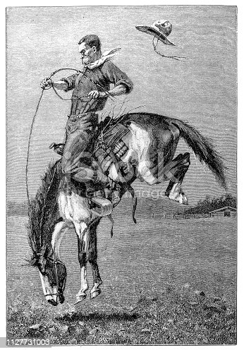 Illustration of a Cowboy on bucking horse