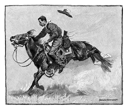 Cowboy on bucking horse