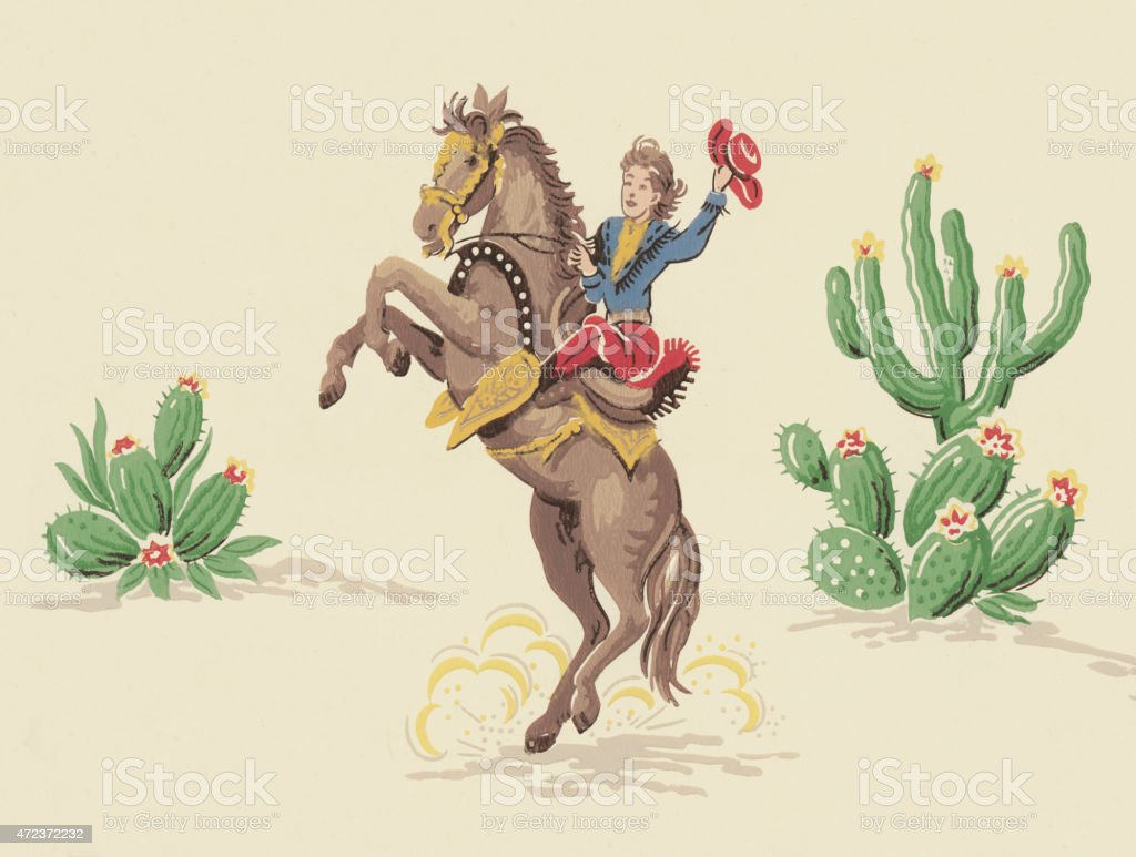 Cowboy on Rearing Horse vector art illustration