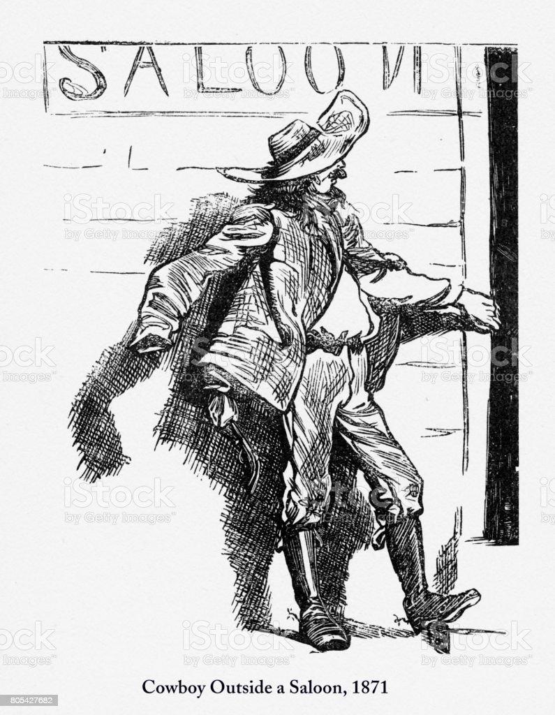 Cowboy Outside a Saloon, Early American Engraving, 1871 vector art illustration