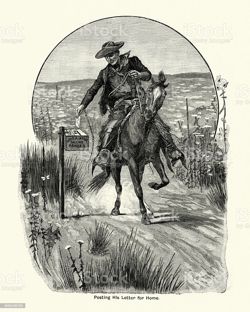 Cowboy posting his letter for home, 1894 vector art illustration