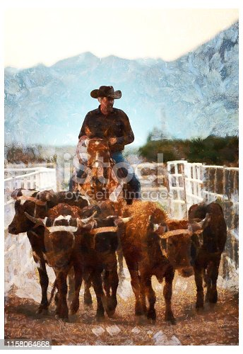 Cowboy pushing cattle to the roping box - digital photo manipulation