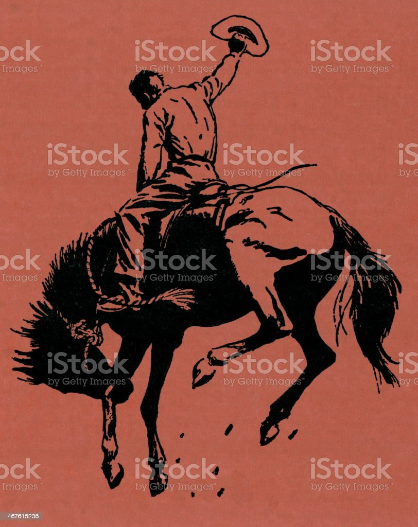 Cowboy riding a horse on an orange background vector art illustration