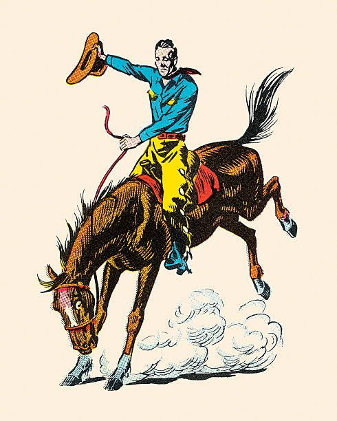 cowboy riding bucking bronco - rodeo stock illustrations, clip art, cartoons, & icons