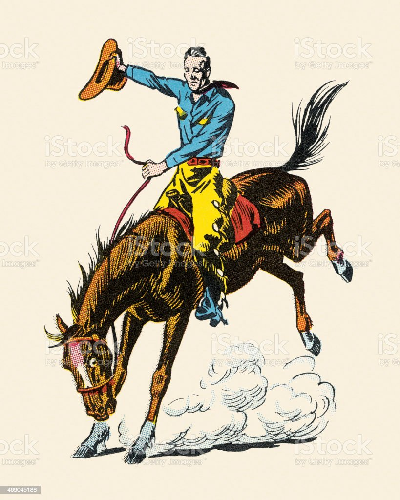 Cowboy Riding Bucking Bronco vector art illustration