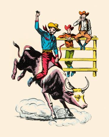 Cowboy Riding Bucking Steer