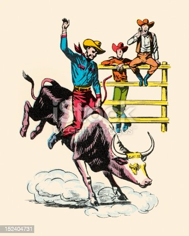 Cowboy Riding Bucking Steer
