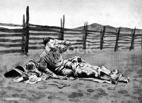 Cowboy waking up on the plains of Arizona, USA. Vintage etching circa late 19th century.