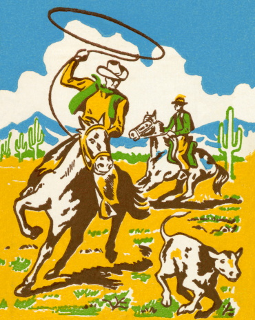 Cowboy Wrangling a Calf