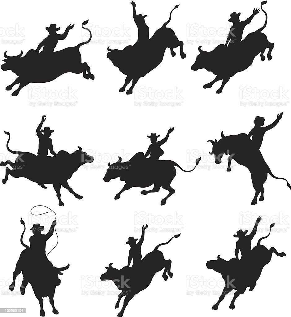 Cowboys balancing on bulls in rodeo royalty-free stock vector art