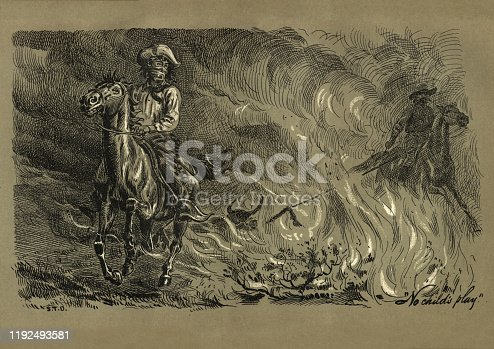 Vintage engraving of Cowboys caught in a blizzard on the prairie, Wild West. Prairie Peril, by Chameleon, 19th Century