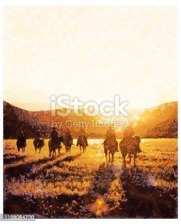 istock Cowgirls and cowboys at farm range - digital photo manipulation 1158064720