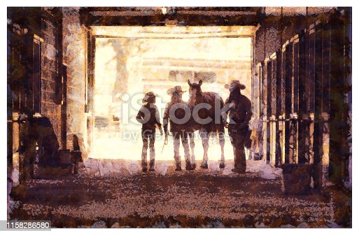 Cowgirls at a horse stable in a ranch - digital photo manipulation