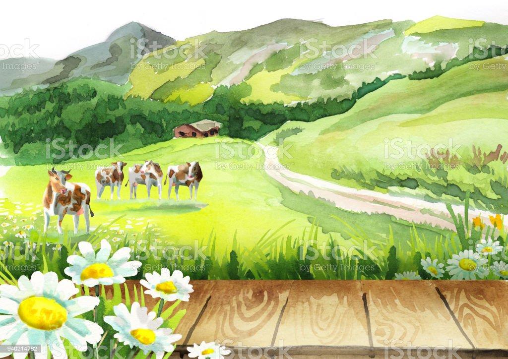 Vaches dans un pré et un Conseil d'administration - Illustration vectorielle