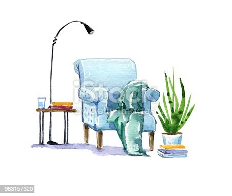 istock Cozy armchair, reading place watercolor illustration 963157320