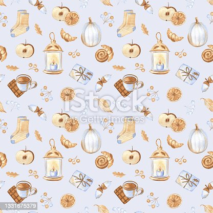 istock Cozy autumn seamless pattern with pumpkins, dried fruit, sweets, garden lanterns, warm socks and forest berries. Watercolor hand painted elements on pastel blue background. 1331675379