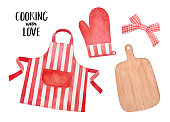 Cozy kitchen collection with wood cutting board, bright striped apron, cotton potholder glove. Hand drawn watercolour graphic paint on white background, cutout clipart elements for design decoration.