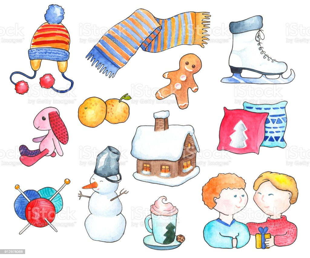 21ac96b6bb5 Cozy winter objects watercolor illustration. Handdrawn clipart winter  activities. royalty-free cozy winter