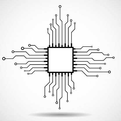 Cpu Microprocessor Microchip Circuit Board Stock Illustration - Download Image Now