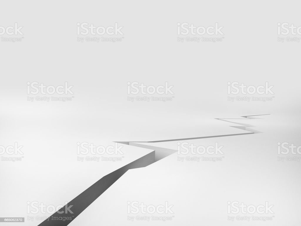Cracked Floor with white background, 3d rendering illustration vector art illustration