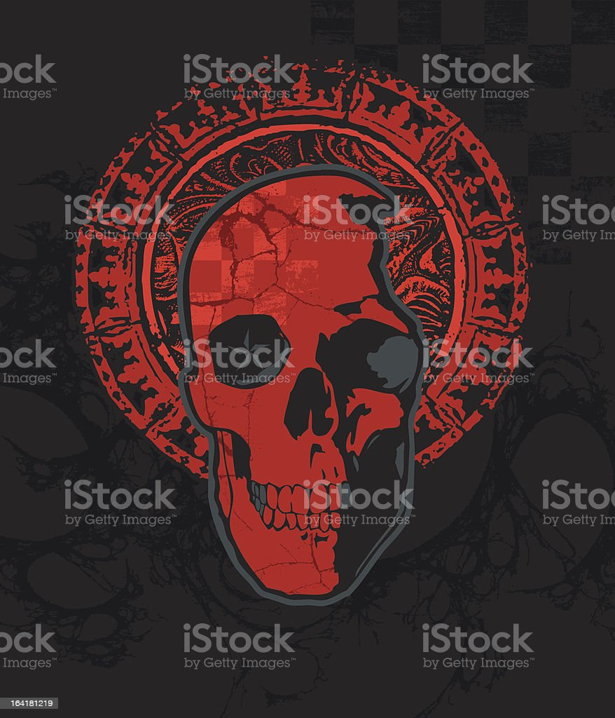 Cracked Red Checker Skull With Halo Stock Illustration - Download