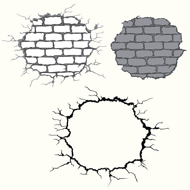 cracks on brick wall vector art illustration