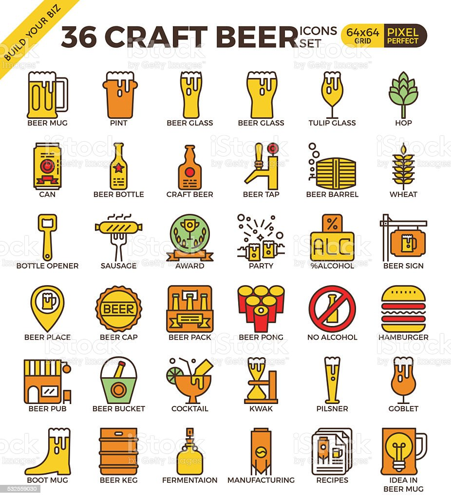Craft Beer icons vector art illustration