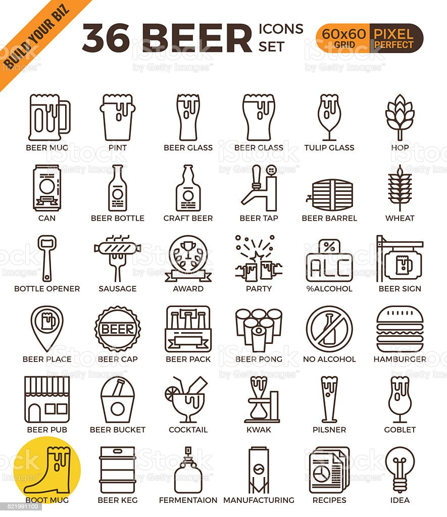 Craft Beer pixel perfect outline icons vector art illustration
