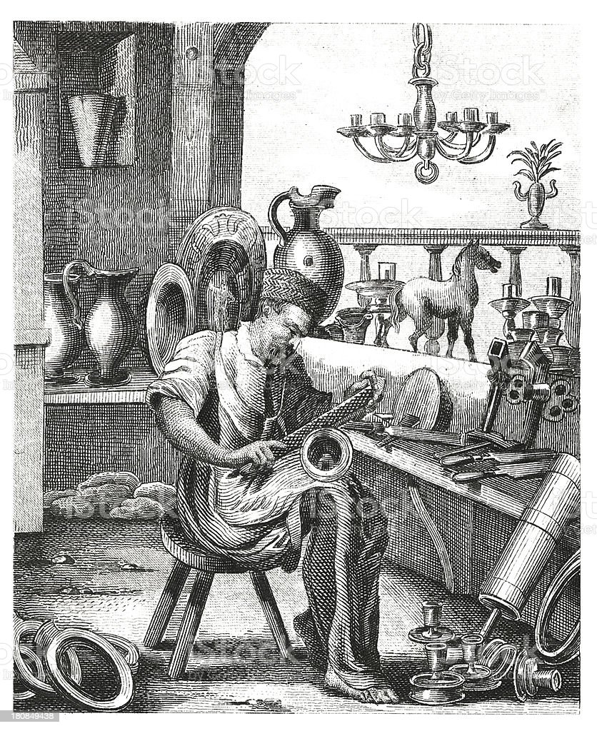 Oficio en madera antiguos siglo XVI (grabado) - ilustración de arte vectorial