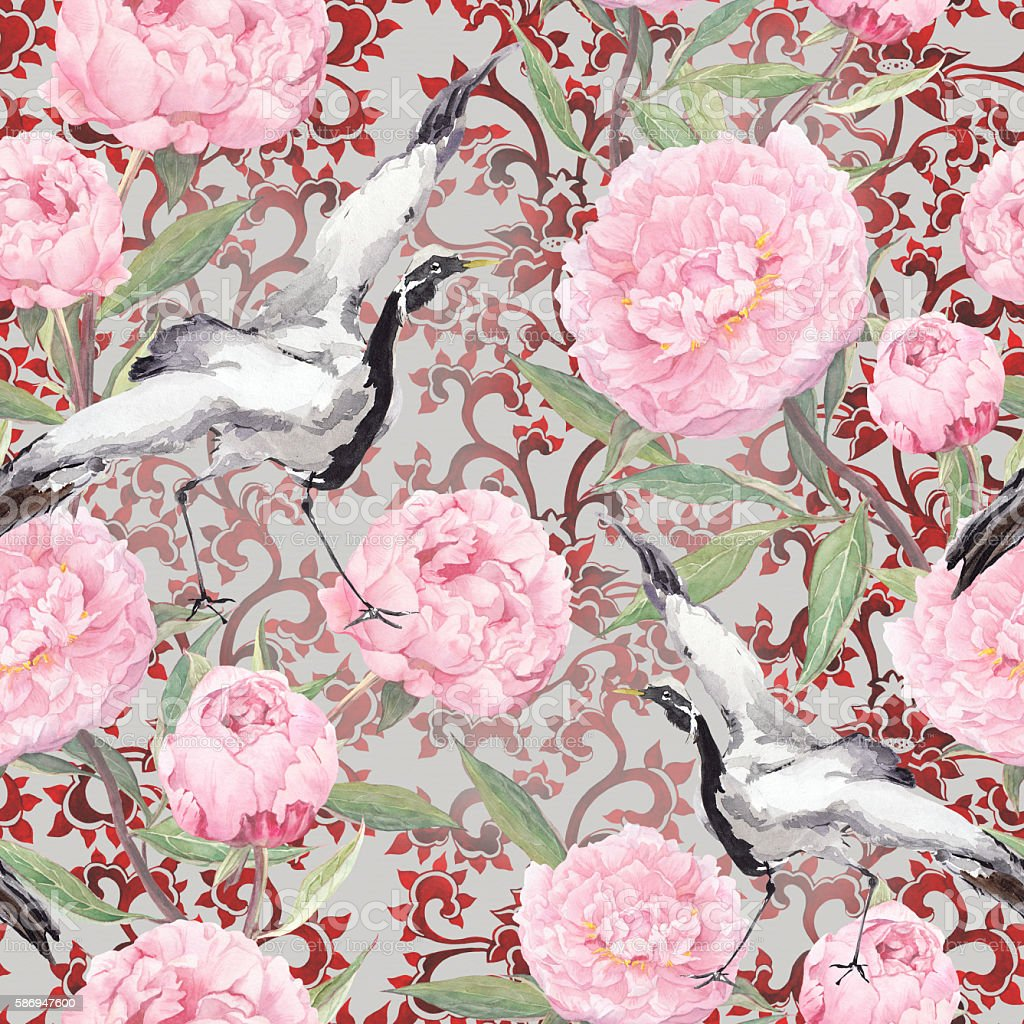 Crane birds, peony flowers. Floral repeating ornate pattern. Watercolor vector art illustration