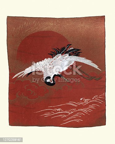 Vintage illustration of Art of Japan, Japanese print of Crane flying over the sea, after a Fukusa, a type of Japanese textile used for gift-wrapping or for purifying equipment during a Japanese tea ceremony.