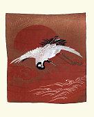 istock Crane flying over the sea, Japanese art print, Fukusa 1270259161