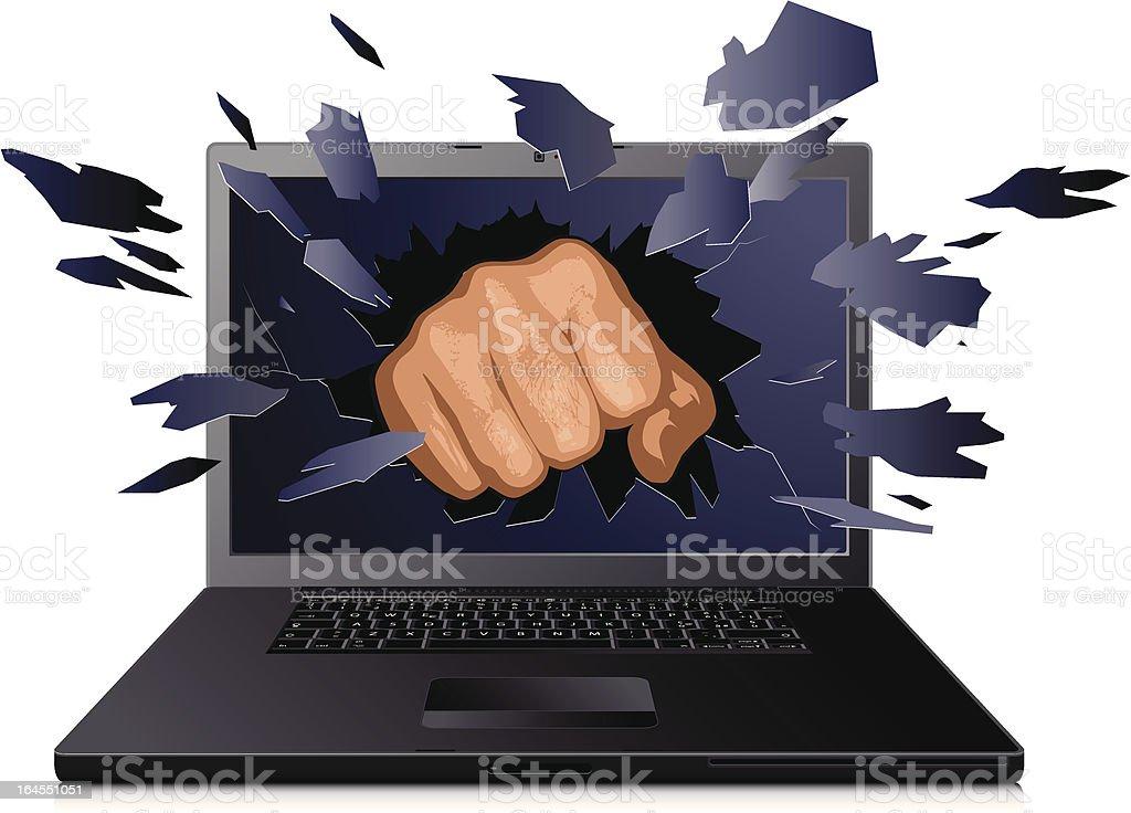 crashing laptop vector art illustration