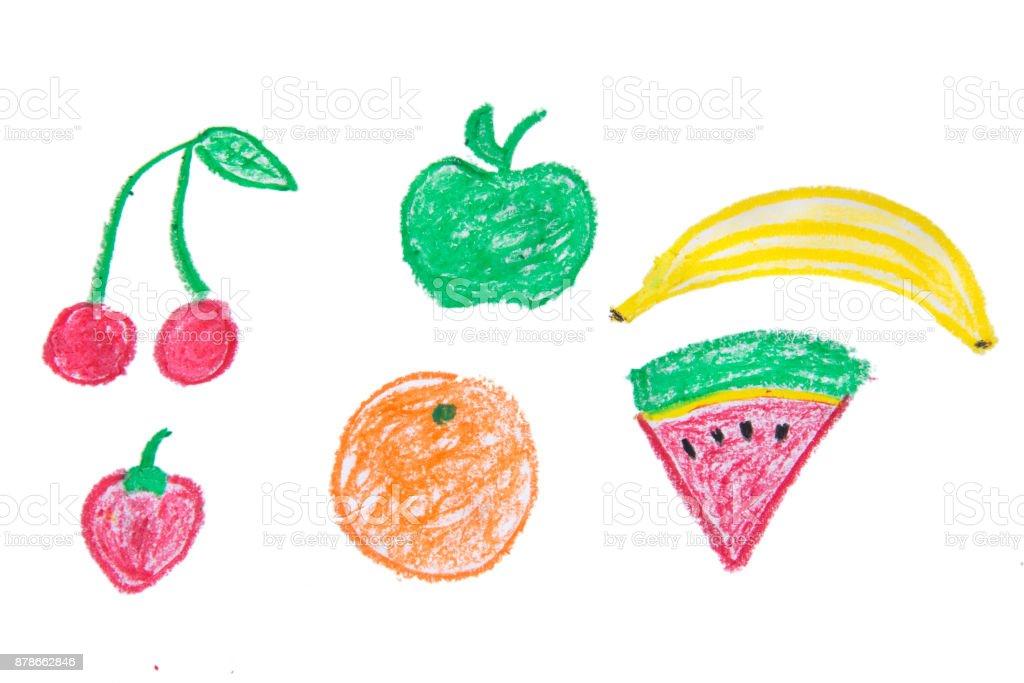 Crayon Drawing Fruits vector art illustration