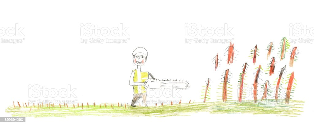 Crayon drawing of man with chainsaw cutting wood down vector art illustration