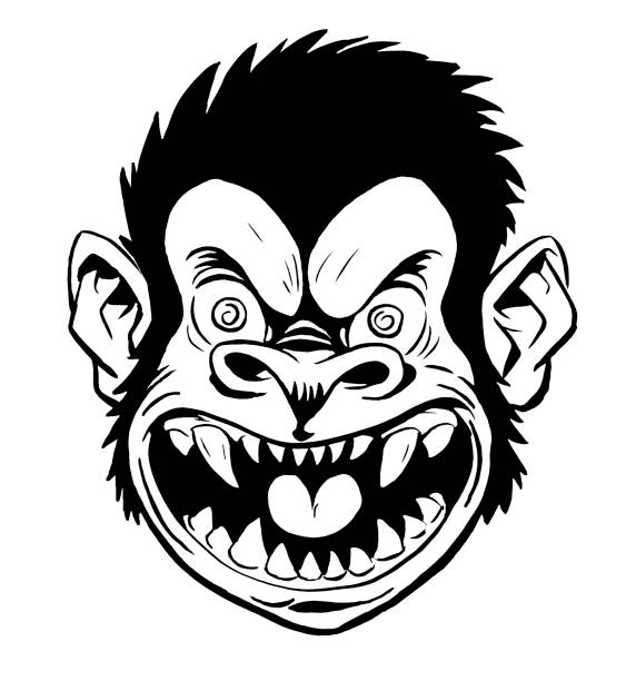 Clip Art Of A Scary Monkey Vector Images Illustrations